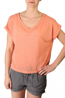 ICHI 100849-17666 Damen T-Shirt in Kurzform Papaya Punch