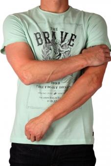 BLEND Herren T-Shirt 20700545-77186 Druck Eggshell Green