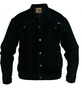 Duke KS1304 Denim Jeans-Jacke schwarz in Übergrößen