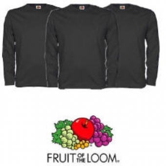 Fruit of the Loom Longsleeve Shirt`s 3er Pack schwarz