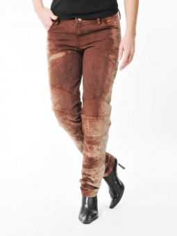 BUCK`s - LOHAS BJ61 Öko Röhrenjeans brown/red -Miss twy-