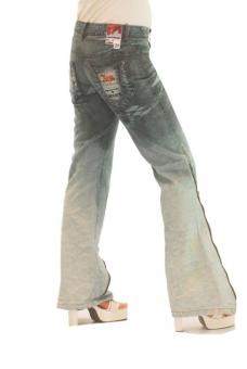BUCK`s - LOHAS BJ66 Limited No.5 Öko Röhren/Schlag Jeans 28/32 blue -Miss twy-