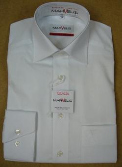 MARVELiS-Hemd 7973-64-00 weiss langarm New-Kent-Kragen 100% Baumwolle