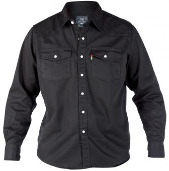 Duke KS1024 Jeans Western-Hemd schwarz in Übergrößen