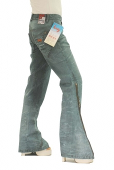 BUCK`s - LOHAS BJ121 Limited No.58 Öko Röhren/Schlag Jeans 27/31 blue -Miss twy-