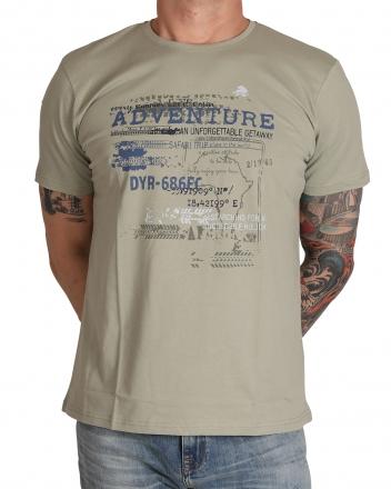 MARVELiS Herren T-Shirt 6605-32-48 R-A bedruckt graugrün 48/S