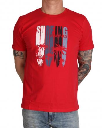 MARVELiS Herren T-Shirt 6606-32-33 R-A bedruckt ziegelrot 48/S