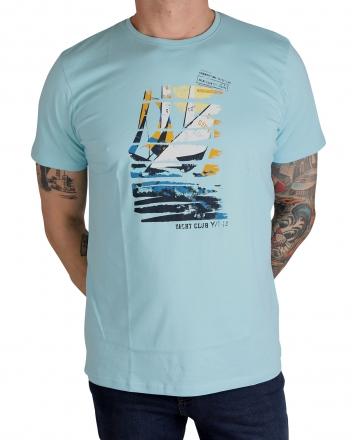 MARVELiS Herren T-Shirt 6636-72-77 R-A bedruckt eisblau 50/M