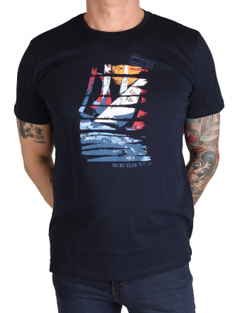 MARVELiS Herren T-Shirt 6636-72-18 R-A bedruckt marine 50/M