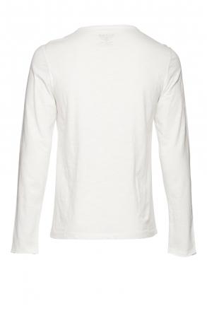 BLEND Herren Longsleeve uni 20703060-70002 Weiß 50/M