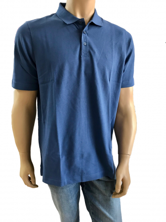 MARVELiS 6430-52-15 Pique Polo T-Shirt uni halbarm blau