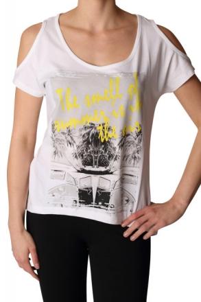 BlendShe 200760-20002 Damen T-Shirt Druck White