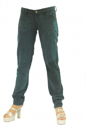 BUCK`s - LOHAS BJ139 Limited No.65 Öko Röhrenjeans 30/31 dark -Green Lin Cotton-