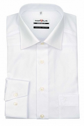 MARVELiS-Hemd 7973-69-00 weiß extra lang New-Kent-Kragen 100% Baumwolle