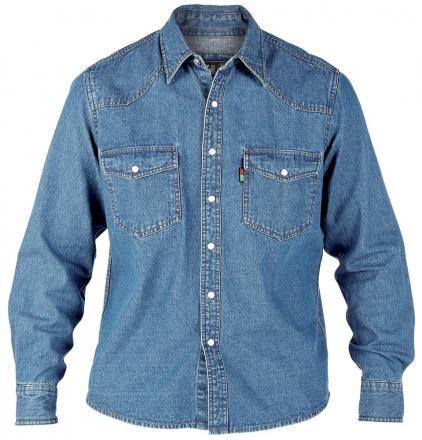Duke KS1023 Jeans Western-Hemd blau in Übergrößen