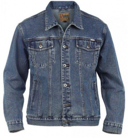 Duke KS1303 Denim Jeans-Jacke stonewashed in Übergrößen