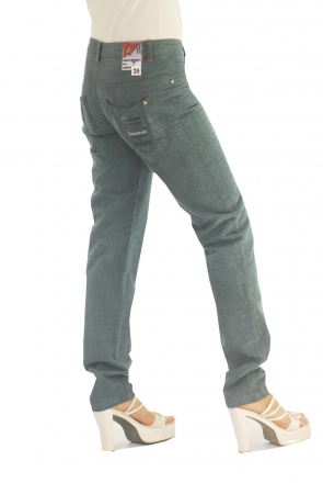 BUCK`s - LOHAS BJ68 Limited No.7 Öko Röhrenjeans 28/32 petroll -Green Lin Cotton-