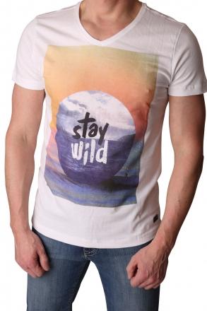 BLEND Herren T-Shirt 700921-70002 Druck White Slim-Fit 48/S