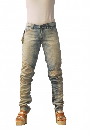BUCK`s - LOHAS BJ147 Limited No.73 Öko Röhrenjeans 32/31 blue -Green Lin Cotton-