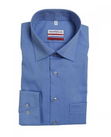 MARVELiS-Hemd 4704-64-13 blau MODERN-FIT (Slim-Fit) langarm
