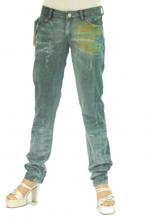 BUCK`s - LOHAS BJ116 Limited No.53 Öko Röhrenjeans 27/30 blue -Green Lin Cotton-