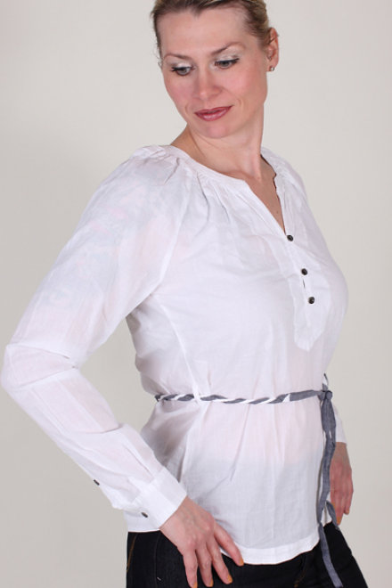 garcia juni b30230 50 damen bluse langarm weiss kn leiste. Black Bedroom Furniture Sets. Home Design Ideas